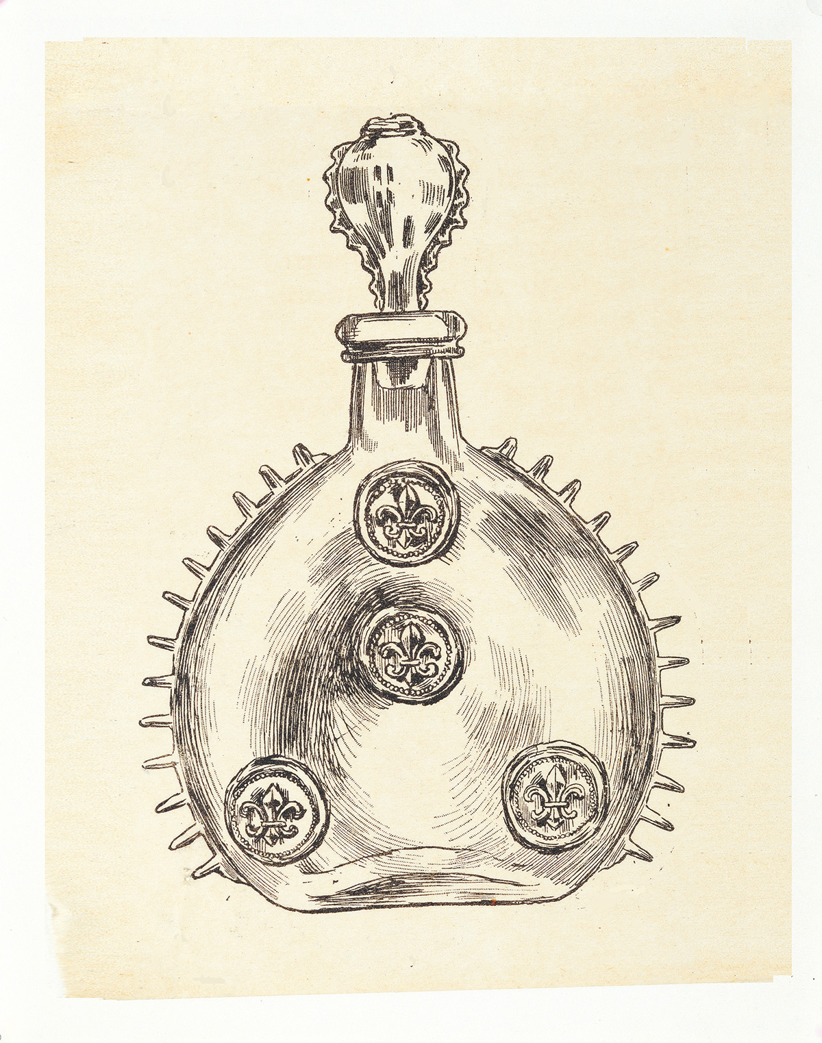 Drawing of the LOUIS XIII decanter from 1850